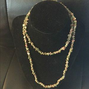"Premier Designs 32"" eternity necklace Epidote"